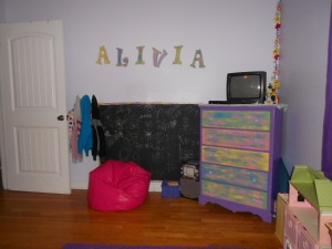 Yes, we painted a chalkboard on her wall.