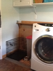 Small space for the dog crate and food storage.